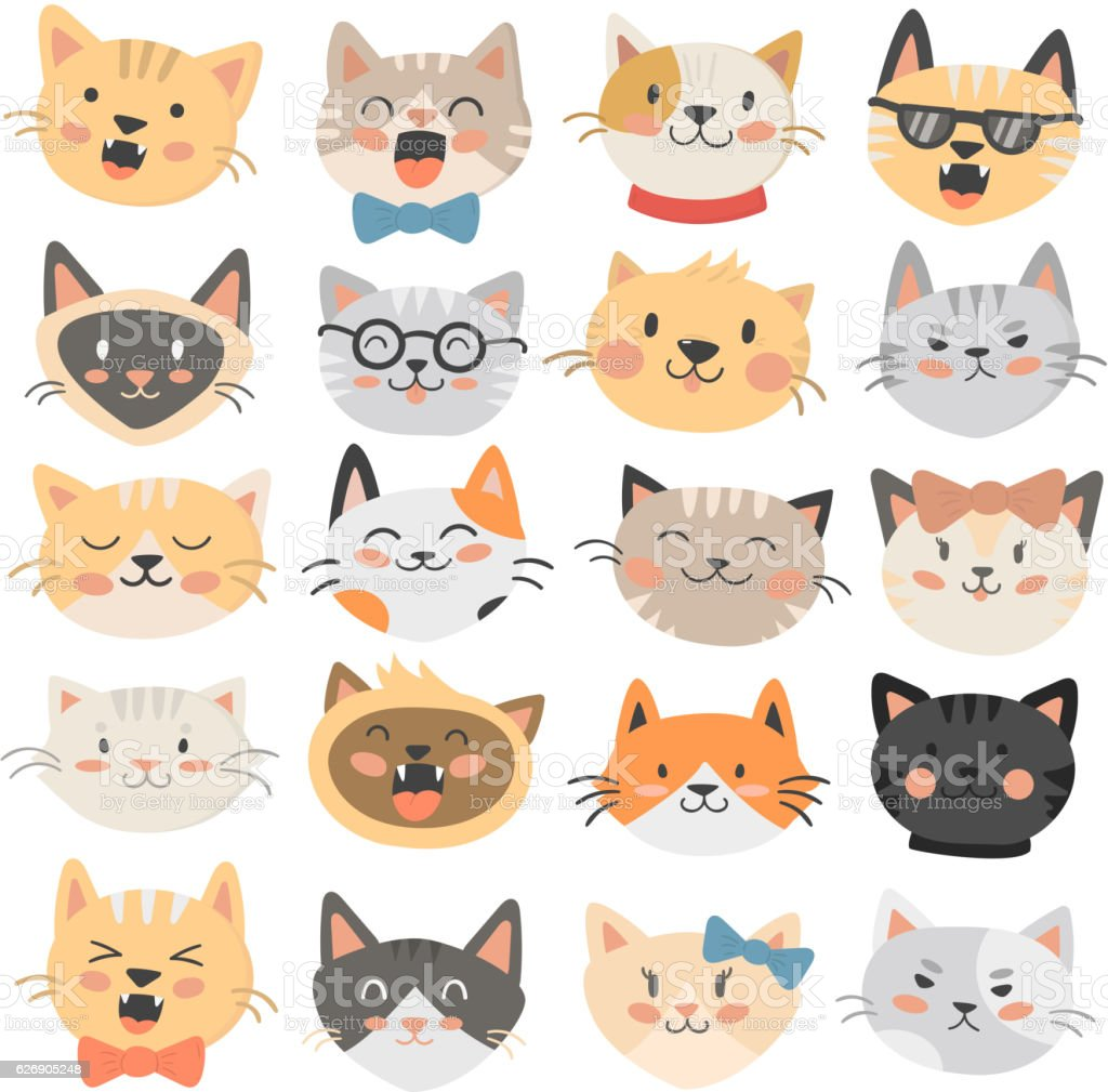 Cats heads emoticons vector. vector art illustration