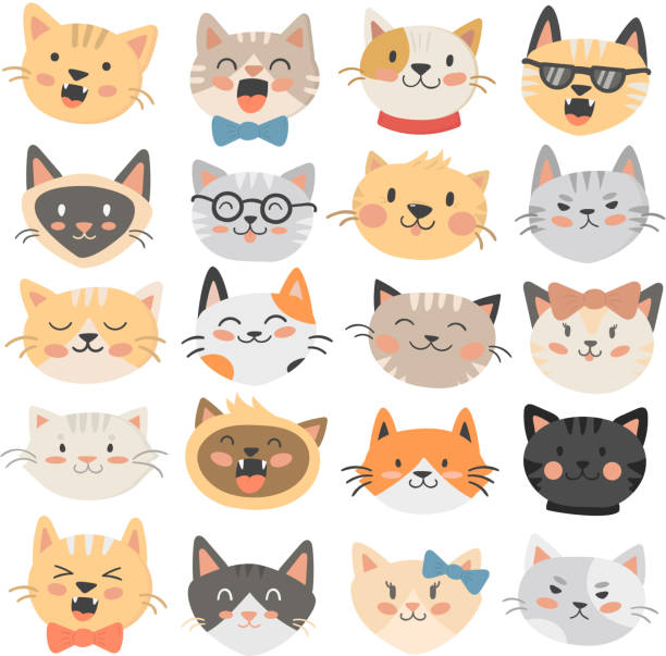cats heads emoticons vector. - cat stock illustrations, clip art, cartoons, & icons