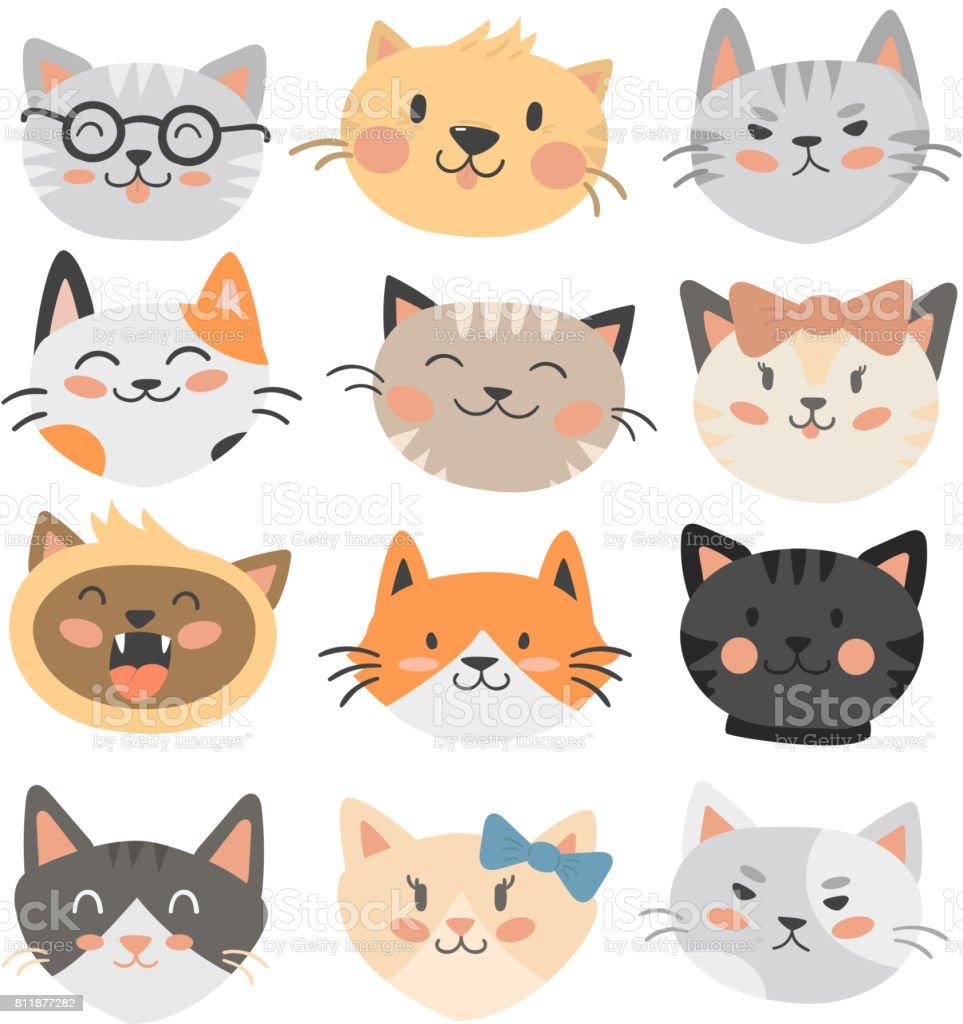 猫頭ベクトル イラストかわいい動物面白い飾り文字猫国内流行ペット描画 ふわふわのベクターアート素材や画像を多数ご用意 Istock