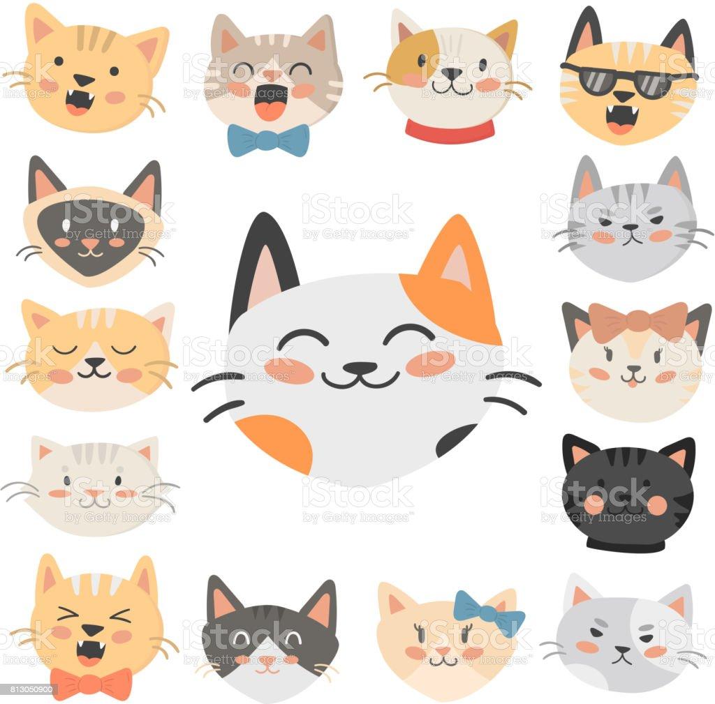 猫頭ベクトル イラストかわいい動物面白い飾り文字猫国内流行ペット描画