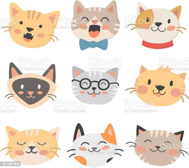 Cats heads vector illustration cute animal funny decorative feline vector id814361800?b=1&k=6&m=814361800&s=612x612&h=tgko8taonmqjtmrx0pzdab68ptz7akooz5qvaoemx3o=