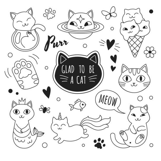 ilustraciones, imágenes clip art, dibujos animados e iconos de stock de colección de iconos de gatos. - tatuajes de sirenas