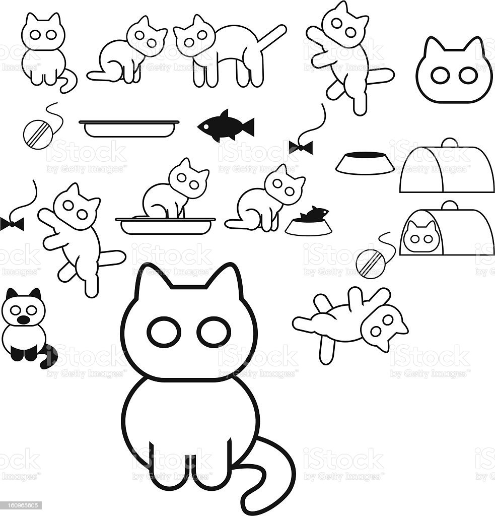 Cats icons royalty-free stock vector art