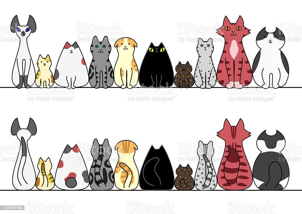 Cats in a row with copy space,front and back vector art illustration