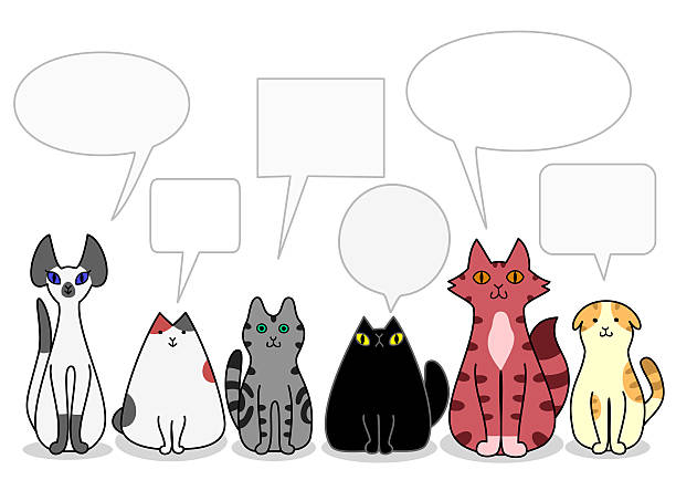 Pet Animals In A Row With Speech Bubbles Illustrations, Royalty-Free