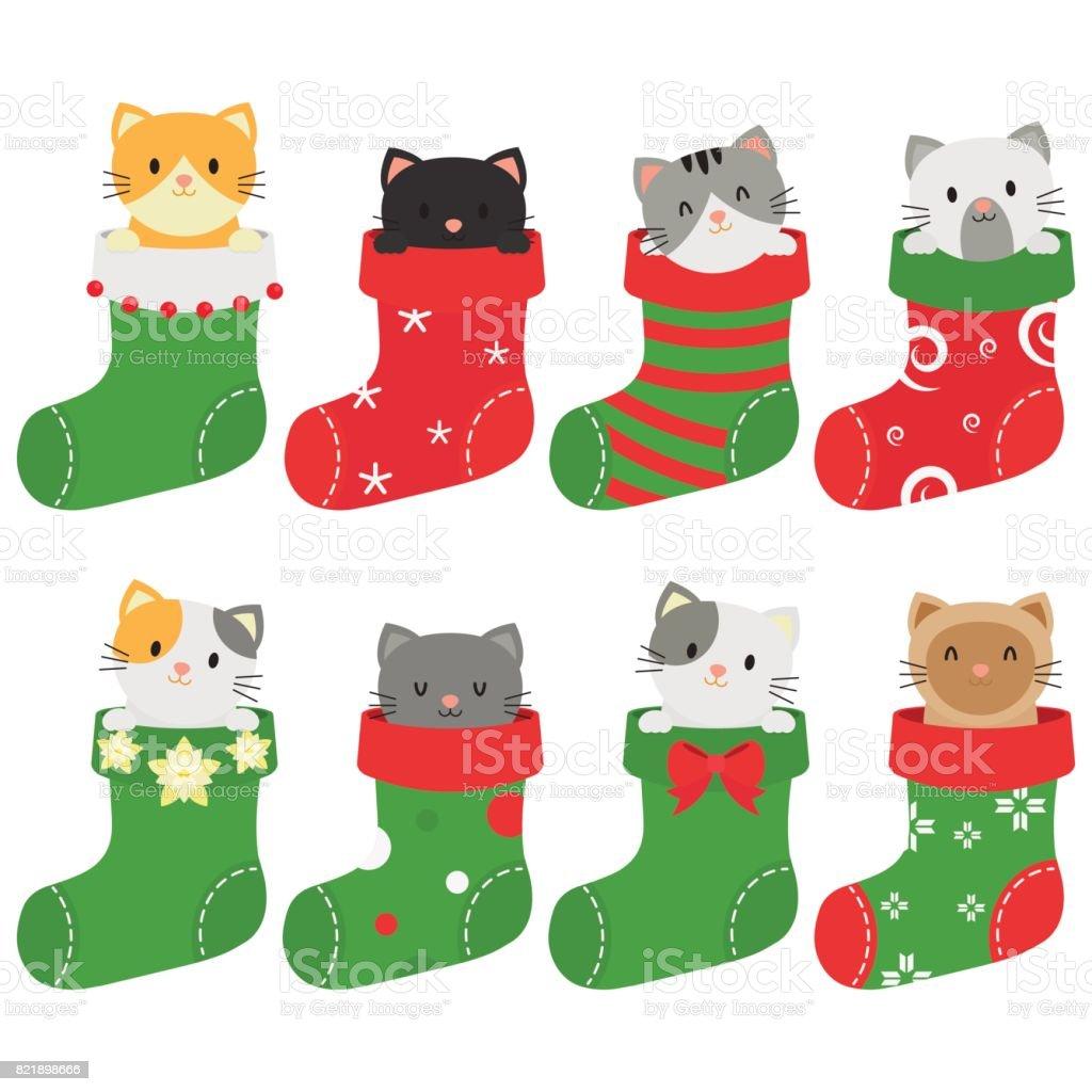 クリスマス ストッキングの猫 イラストレーションのベクターアート素材