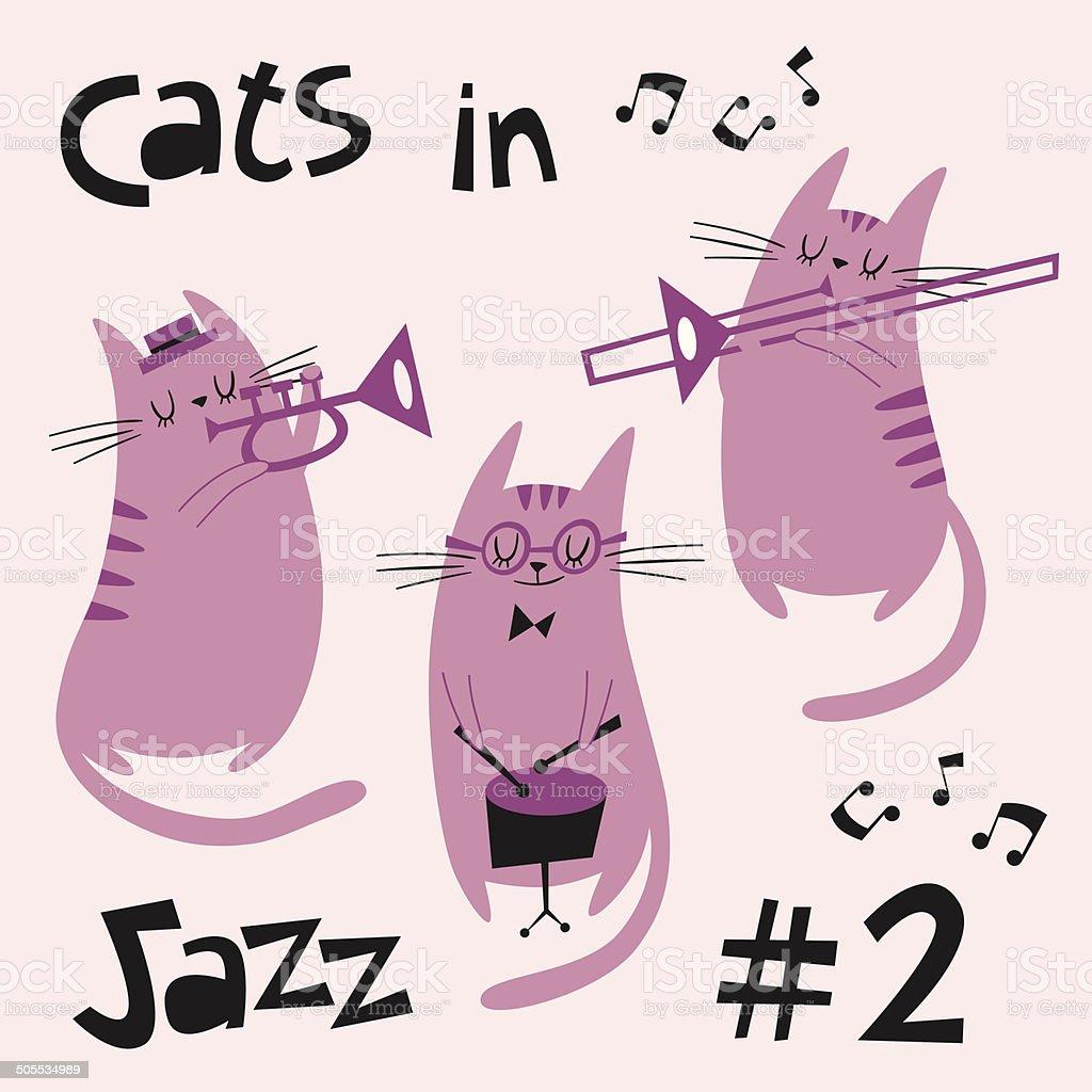 Cats in jazz vector set #2 in purple vector art illustration