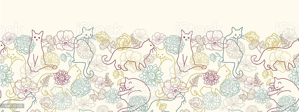 Cats In The Garden Horizontal Seamless Pattern Ornament royalty-free cats in the garden horizontal seamless pattern ornament stock vector art & more images of animal