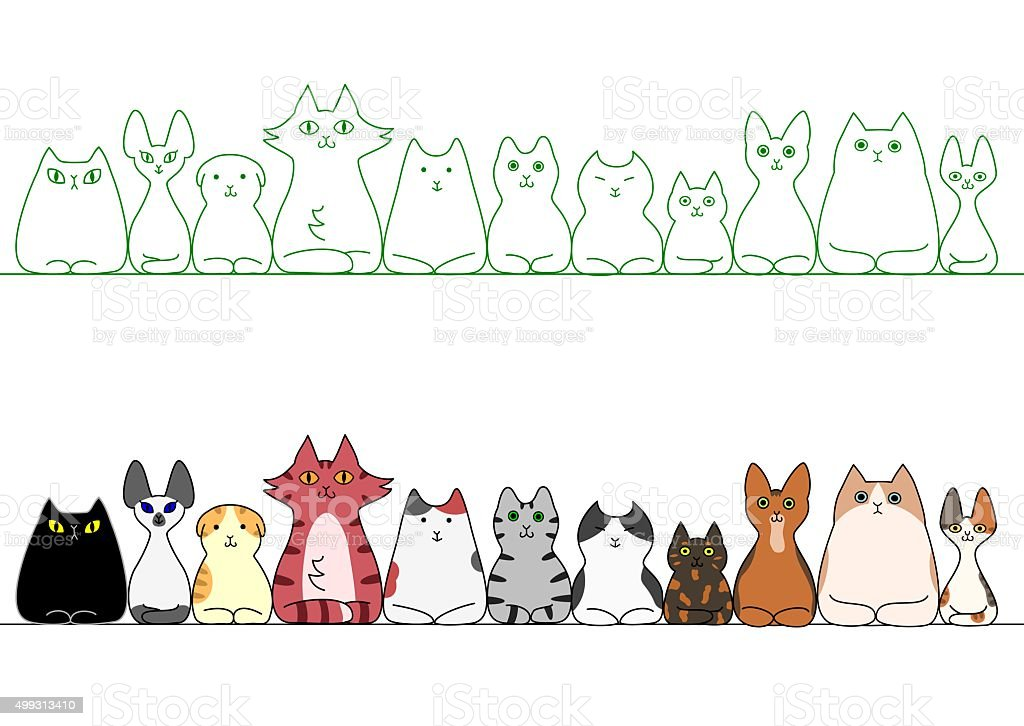 cats loafing in a row vector art illustration
