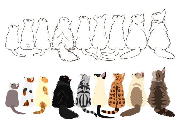 行の横に見上げる猫 ベクターアートイラスト