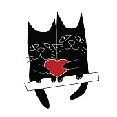 Cat's love. Cartoon vector illustration of two cats sharing the heart.