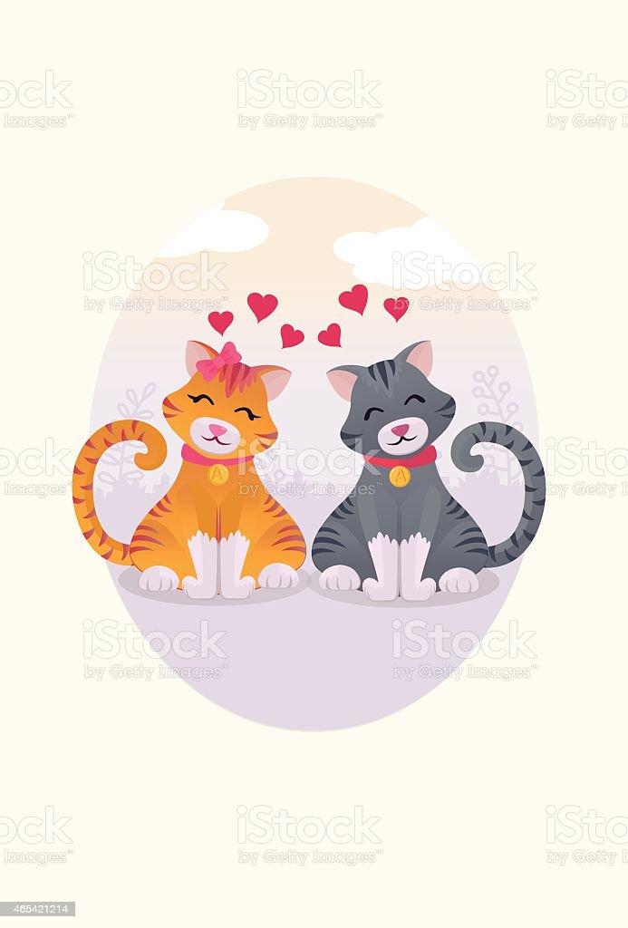 Cats love vector art illustration