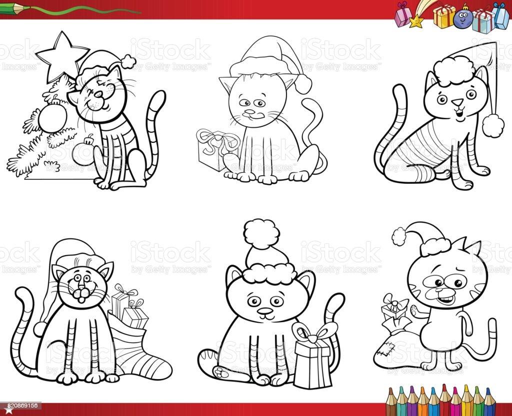 Ilustración de Gatos En El Conjunto De Navidad Para Colorear Libro y ...