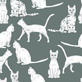 Hand drawn cats on grey background. Vector seamless pattern.