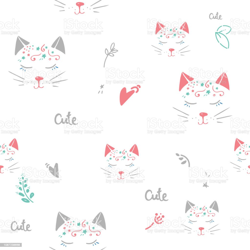 Cats seamless vector pattern with hearts. Cute hand drawn pink kitten...