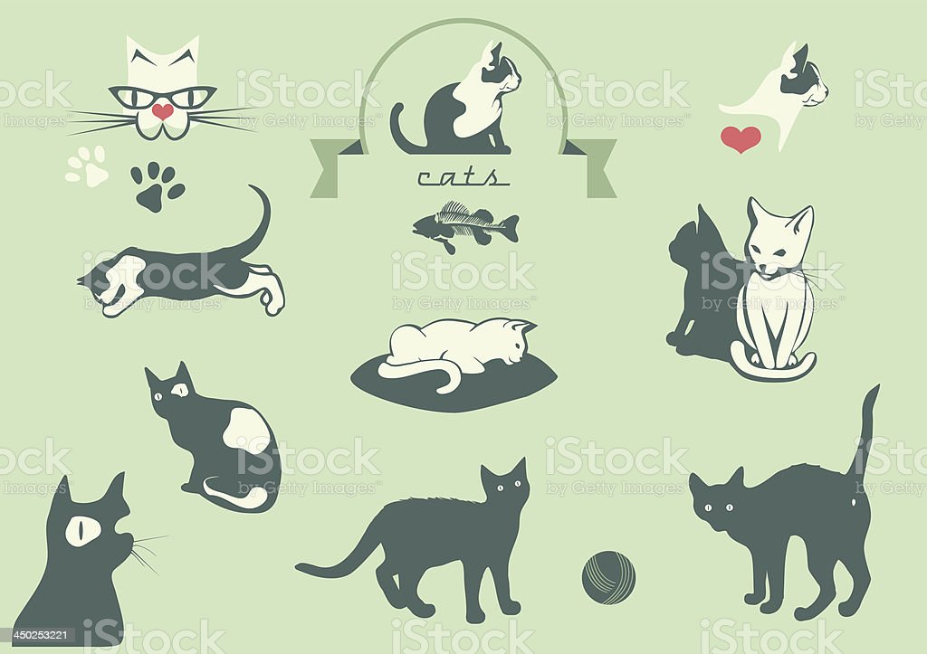 cats silhouettes, veterinary logo elements, vector art illustration