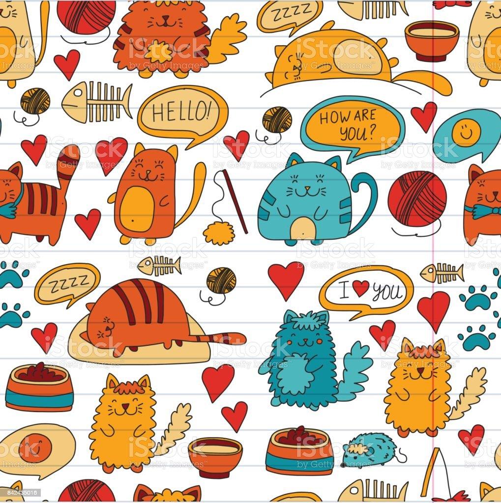 Vecteur De Chats Domestiques Kawaii Mignon Chatons Japonais