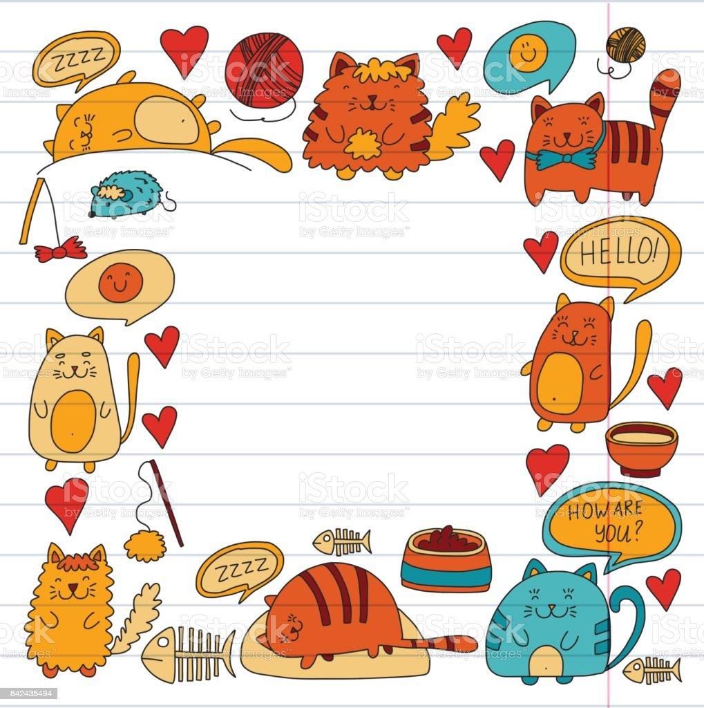 Ilustracion De Gatos Gatos Domesticos Kawaii Cute Gatitos