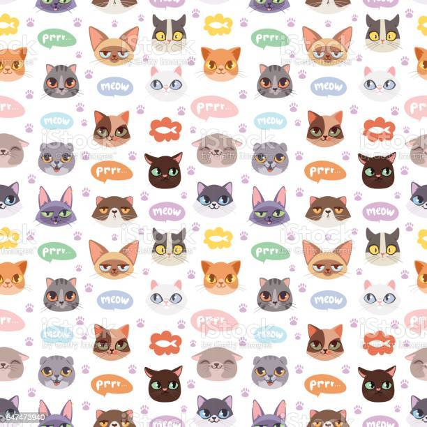 Cats vector heads illustration seamless pattern vector id647473940?b=1&k=6&m=647473940&s=612x612&h=36 22ez2evymr5kvdib84b6lsx0cuz qzoyxhjjouhk=
