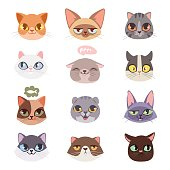 istock Cats vector heads illustration 638949850