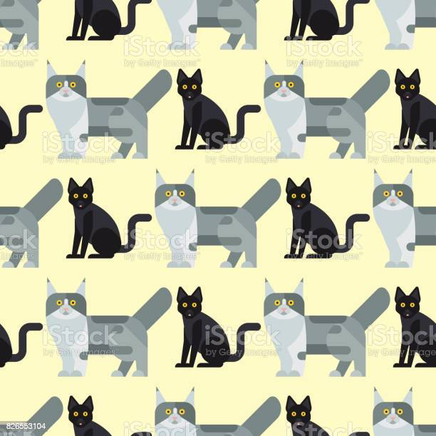 Cats vector illustration cute animal seamless pattern funny kitty vector id826553104?b=1&k=6&m=826553104&s=612x612&h=r9x4 nlkrx7y6g6yislznc8lguxq 3exi1q5av7vcpa=