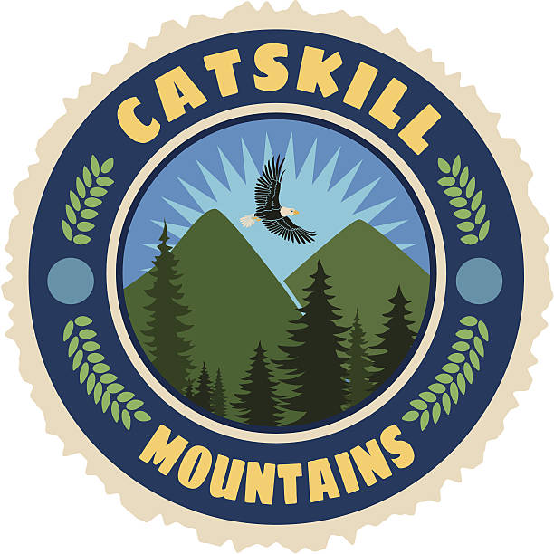 Catskill mountains travel sticker or luggage label Vector Catskill mountains travel sticker or luggage label. catskill mountains stock illustrations