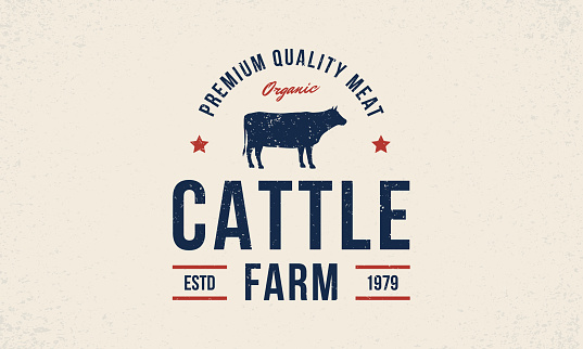 Cattle farm logo. Cattle farm trendy logo, emblem, poster with cow silhouette. Vintage typography. Graphic emblem template for grocery store, food market, restaurant and butchery Vector illustration