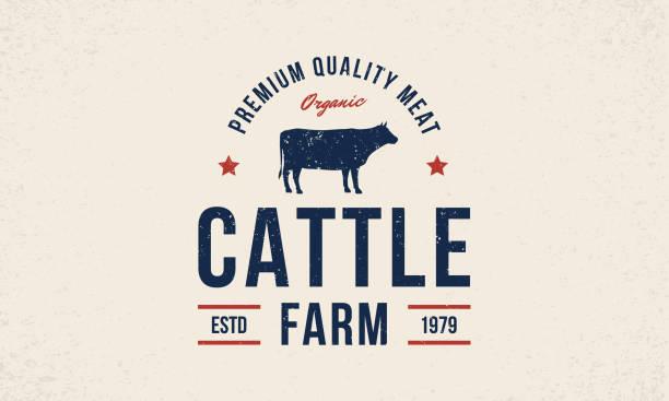 ilustrações de stock, clip art, desenhos animados e ícones de cattle farm logo. cattle farm trendy logo, emblem, poster with cow silhouette. vintage typography. graphic emblem template for grocery store, food market, restaurant and butchery vector illustration - beef angus
