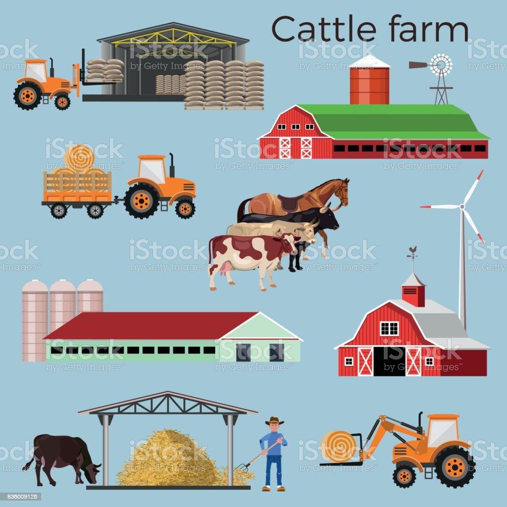 Cattle farm vector illustrations vector art illustration