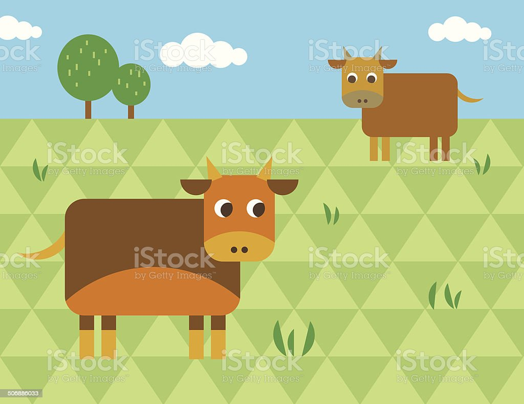 Cattle on the green meadow vector art illustration