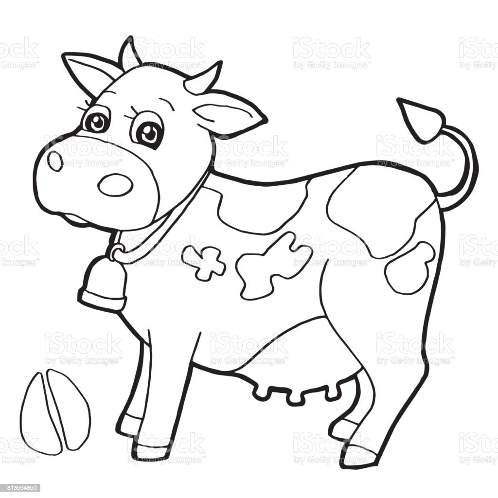 Cattle With Paw Print Coloring Page Vector stock vector art ...
