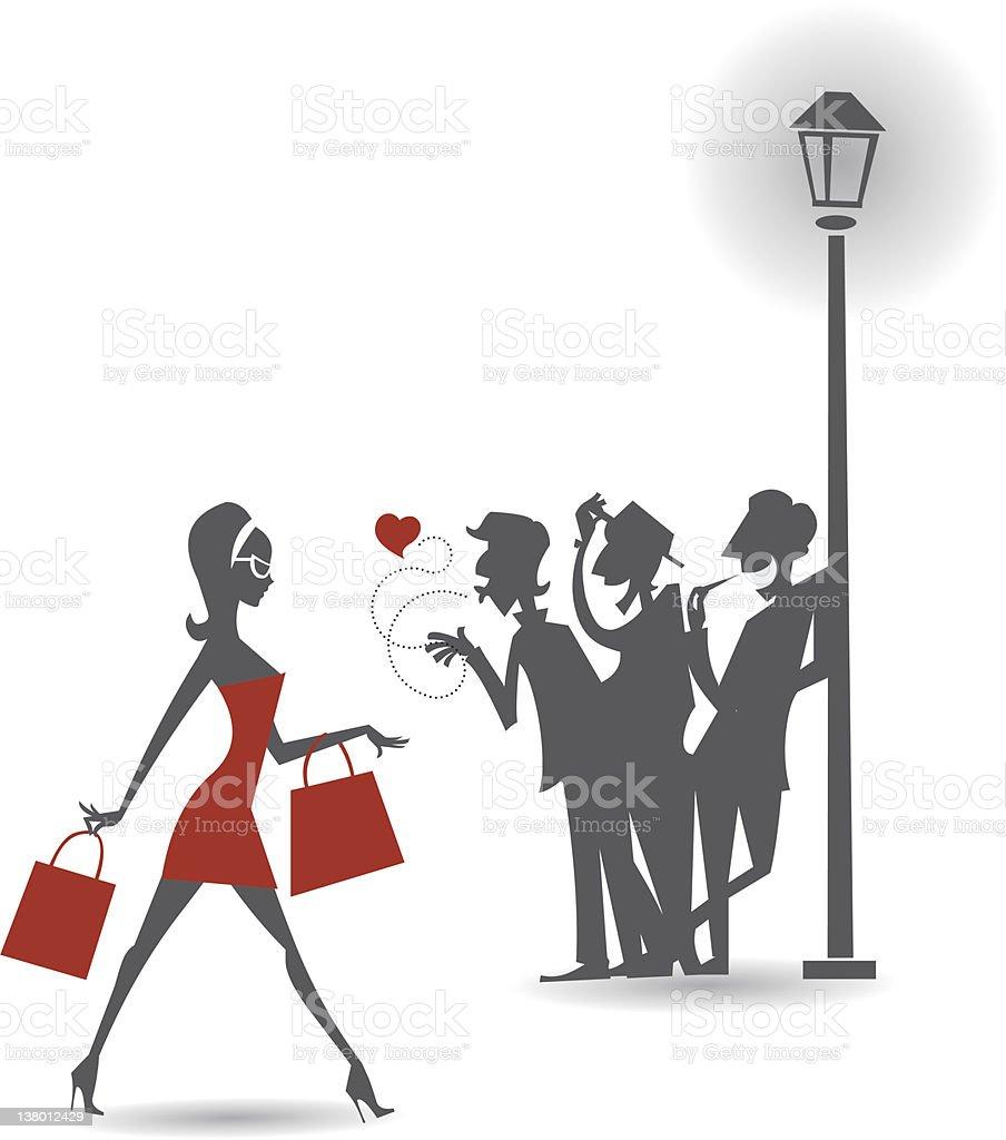 Passerella Shopping Girl - illustrazione arte vettoriale