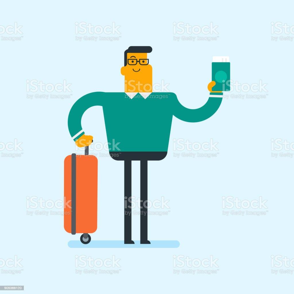 Kaukasiska flygplan passagerare som innehar ett pass vektorkonstillustration