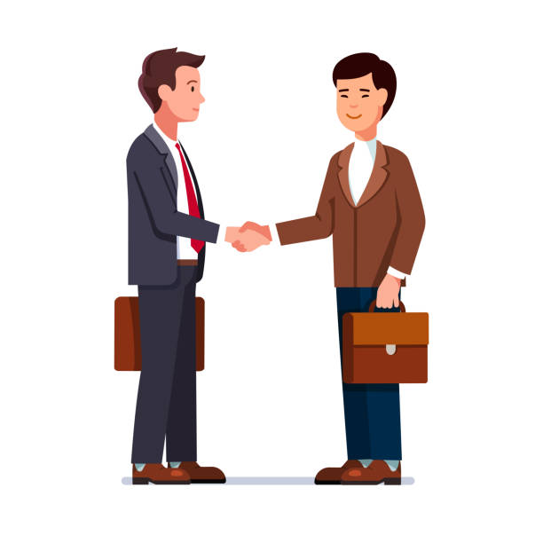 Caucasian and Chinese international business men shaking hands. Two businessman first meeting acquaintance. Deal handshake. Flat isolated vector Two international business man caucasian and Chinese shaking hands. Businessmen first meeting greeting with firm handshake. Flat style character vector illustration isolated on white background two people stock illustrations