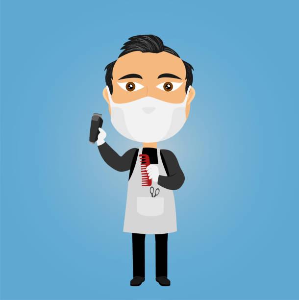 kaukasischen friseur friseur mit virus maske weiße handschuhe elektrische rasierer schere kommen und schürze - friseur lockdown stock-grafiken, -clipart, -cartoons und -symbole