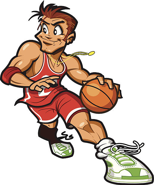 Caucasian Basketball Player vector art illustration