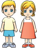 Vector Illustration - Caucasian Boy and Girl