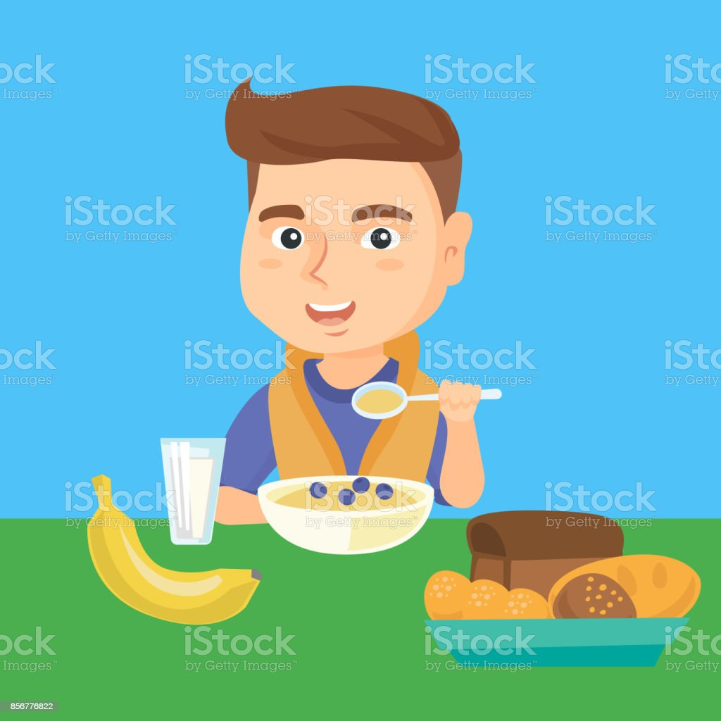 Caucasian boy eating porridge for breakfast vector art illustration