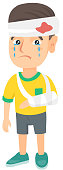 Caucasian boy with broken arm and bandaged head