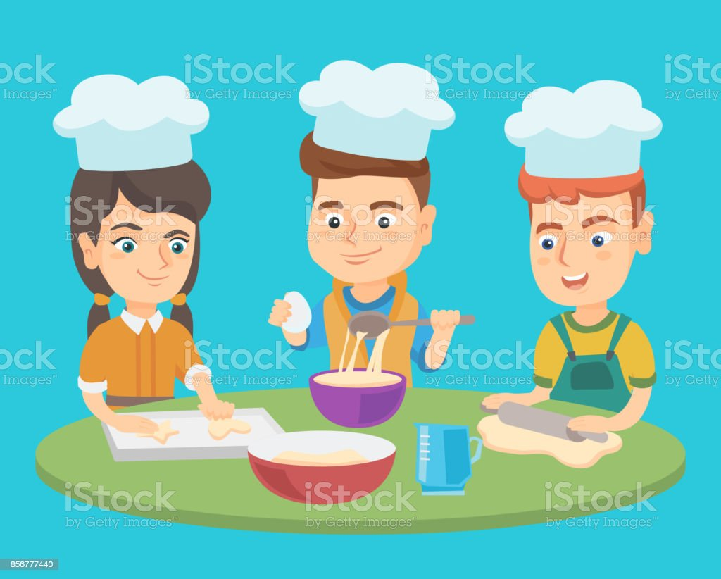 Caucasian Boys And Girl In Chef Hats Cook Cookies Stock Vector Art ...