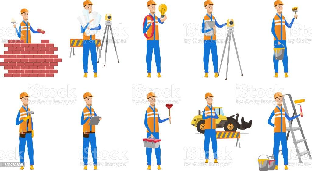 Caucasian builder vector illustrations set vector art illustration