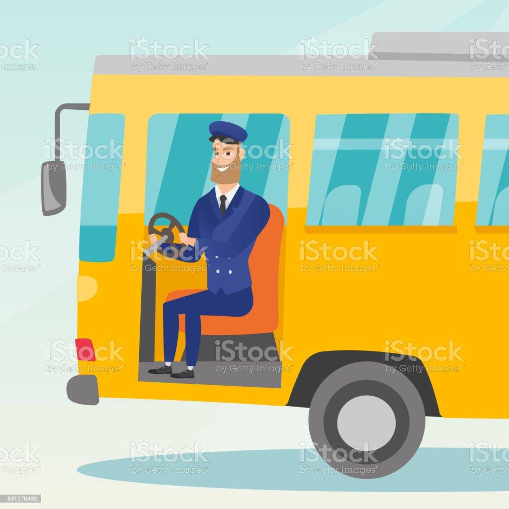 Conductor de autobús caucásica sentado en el volante - ilustración de arte vectorial