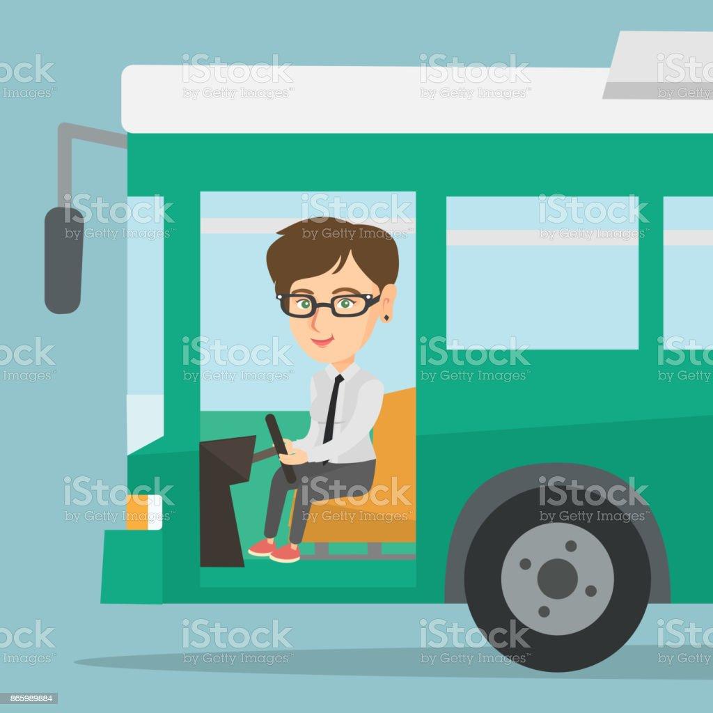 ステアリング ホイールに座って白人バスドライバー ベクターアートイラスト