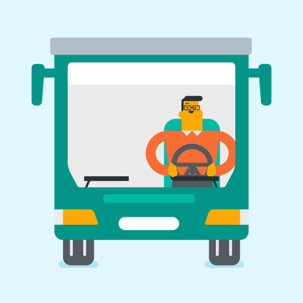 Caucasian bus driver sitting at steering wheel vector art illustration