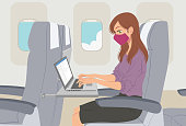 Caucasian business woman traveling by plane wearing face mask, working on laptop during sars-cov-2 epidemic