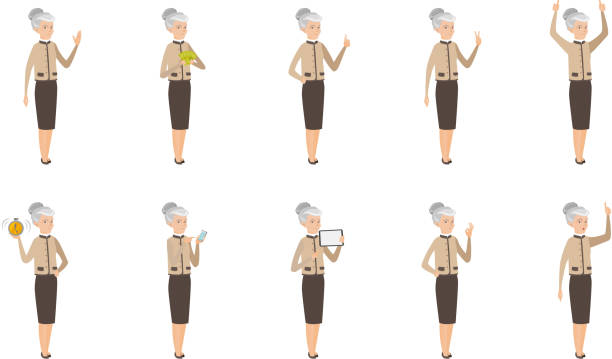ilustrações de stock, clip art, desenhos animados e ícones de caucasian business woman vector illustrations set - senior business woman tablet
