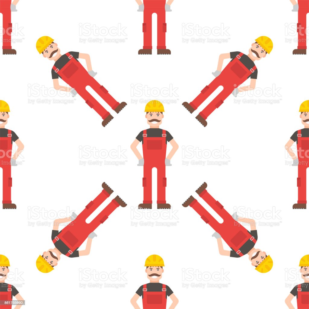Caucasian character young builder confident man seamless pattern background vector vector art illustration