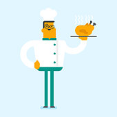 Young caucasian chief cook in uniform and hat holding plate with roasted chicken. Smiling male chief cook with a whole baked chicken on a plate. Vector cartoon illustration. Square layout.