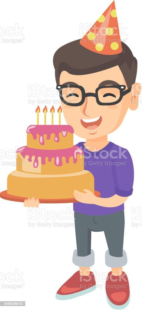 Caucasien enfant tenant gâteau d'anniversaire avec bougies - Illustration vectorielle