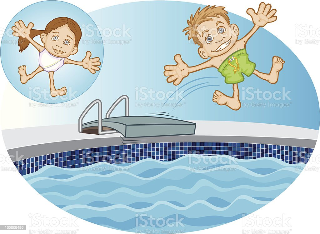 Caucasian Children Jumping into Swimming Pool vector art illustration